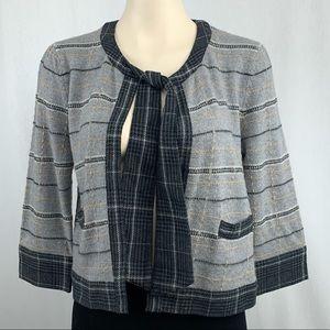 Diane Von Fustenberg Wool Plaid Necktie Cardigan M